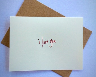 7 I Love You blank note cards and envelopes .