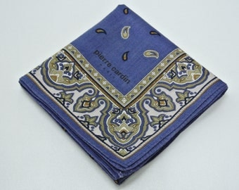 Pierre Cardin Handkerchief Blue Paisley Authentic Pierre Cardin Paris Hanky