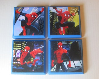 Spiderman Room Wall Plaques - Set of 4 Spiderman Boy's  Room Decor - Spiderman Wall Signs - Spiderman Bedroom Decor