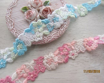 1 Yard-Embroidered Elastic Lace Trim/NT91-Elastic Lace/Shabby Chic lace Trim/Flowering Lace