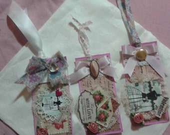 "Set of 3 handmade vintage  shabby chic gift tags. 3""  x 6"".  Shabby Chic Thank You Tags...Custom Made for you. choice of theme."
