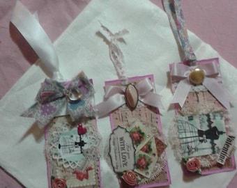 "Set of three handmade vintage shabby chic Valentine gift tags. 3""  x 6""..w Valentine message."
