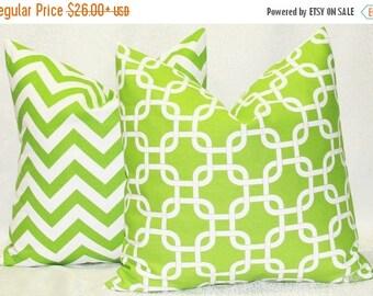 SALE Green Pillows Chevron pillows Chevron Green on White Decorative pillow covers, One Pair Pillow Covers Green Chevron and Green Chain Lin