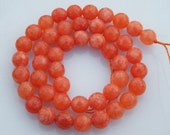 Peach Orange Agate Beads, 8mm Faceted Round Beads, 15 inches Full Strand, Beaded Strand B-24