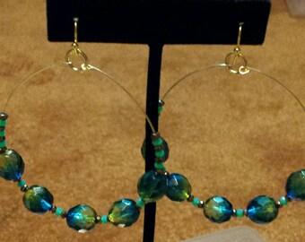 2 Inc crystal hoop earrings