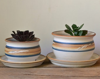 Vintage Handmade Pottery Plant Pots or Planters - Set of Two
