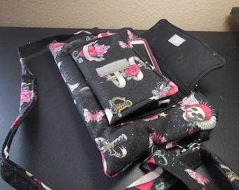 cell phone iphone galaxy purse clutch crossbody handbag skulls hearts