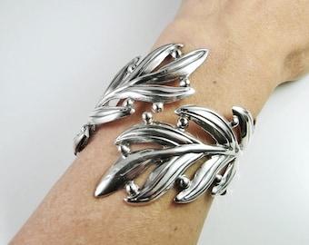 Leaf Bracelet Feather Bracelet Clamper Bracelet Sterling Silver Bangle Gatsby Jewelry gatsby Wedding 1940s Art Deco Bracelet Retro Jewelry