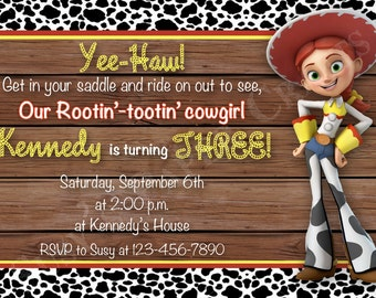 Jessie Toy Story Birthday Invitation, Digital File, You Print