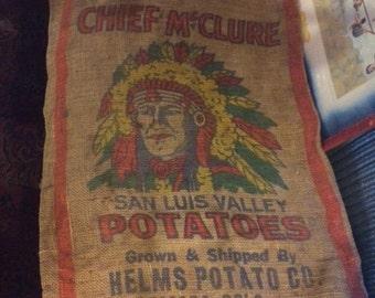 Mid 1900's Chief McClure San Luis Valley Potato Burlap Bag, Helms Potato Co. Alamosa Colo