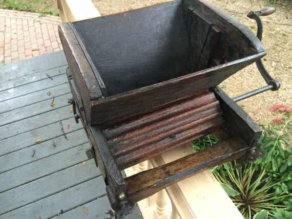 Antique Wood And Metal Grape Crusher Winemaking Grape