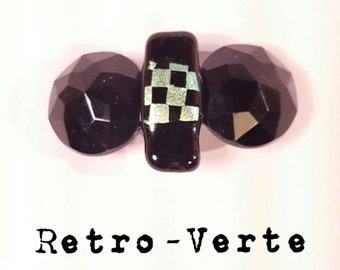 Vintage Upcycled Black Faceted & Metallic Checker Board 1950s Glam Hollywood French Clip Barrette Pin-Up
