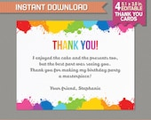 Art Party Thank you Cards - Art Birthday Party - Art Birthday - Instant Download - Edit and print at home with Adobe Reader