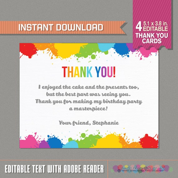 art party thank you cards  art birthday party  art birthday, Birthday card