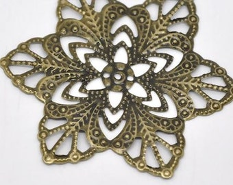 "Alloy Embellishments Flower Antique Bronze Pattern - 2 2/8"" - Pack Of 10"