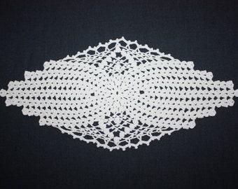 Oval White Crochet Doily Small Lace Doily Original Cotton Doily Table Topper