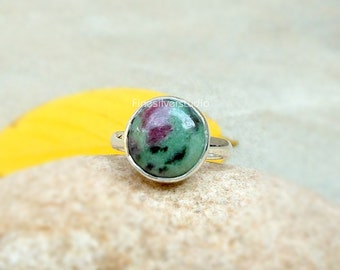 Ruby Zoisite Ring Sterling Silver Ring Ruby Zoisite 10mm Round Gemstone Ring Red And Green Zoisite Round Bezel Ring Women Ring