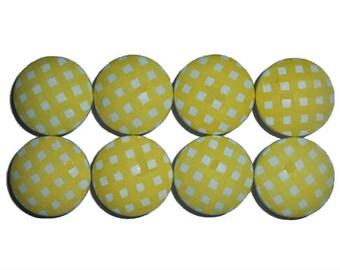 8 Custom Girls Baby Yellow Gingham Hand Painted Drawer Pulls Knobs