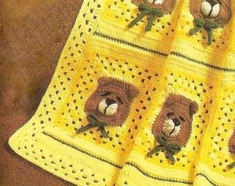 Vintage Crochet Pattern Sleepy Bear Afghan Cot Pram Blanket Throw