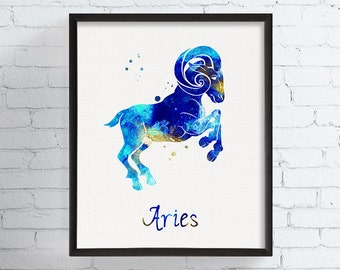 Watercolor Aries, Aries Art, Aries Print, Aries Sign, Astrology Art, Aries Zodiac, March Birthday Gift, Aries Gifts, Horoscope, Mithology