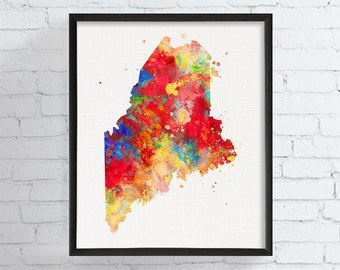 Maine State Map, Maine State Print, Watercolor Map, Maine Poster, Maine Wall Decor, Maine Art, Maine Print, Travel Art, Dorm Decor, Colorful