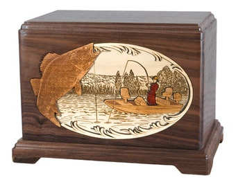 Walnut Walleye Fishing Boat Hampton Wood Cremation Urn