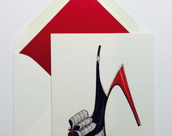 Red Heel Box of 8 Note Cards High Heels Gift Lined Envelopes Red Heels Shoes Boxed Sets
