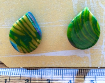 Handcrafted polymer clay earrings, leavs design
