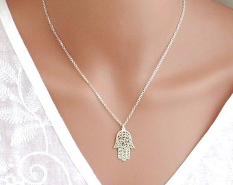 Big hamsa necklace , Large size silver hamsa necklace, silver hand necklace , silver hamsa necklace , dainty hamsa,kabala necklac