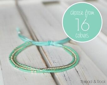 CUSTOM DESIGN: Delica Mix Beaded Thread Bracelet