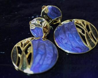Elegant Vintage Edgar Berebi Enamel Dangle Earrings