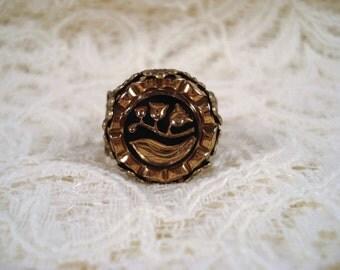 Antique Glass Flower Button Ring Repurposed Vintage Adjustable