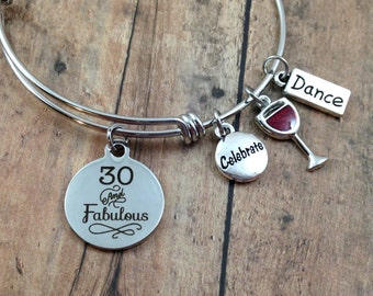 30th Birthday Gift, 30 and Fabulous Charm Bracelet, Gift for Her, Stainless Steel Bangle