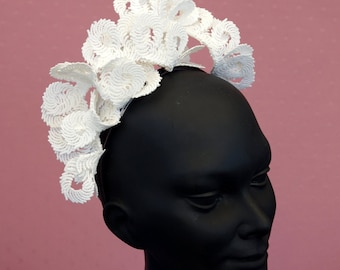 White Lace Headband Fascinator