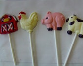 Farm/Barnyard/Cowboy/ Birthday Party Animal Candy Favor Lollipops-Barn, Pig, Rooster and Cow-Charlotte's Web Theme/Old MacDonald (12)