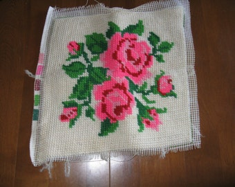 Vintage needlepoint picture panel roses flowers unframed or pillow top