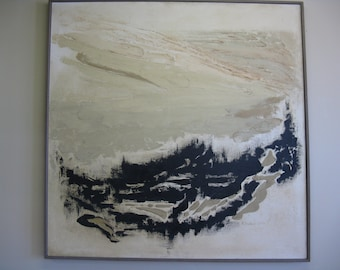 Very large original oil painting The Valley Ruth Baker vintage signed stretched canvas 1960's