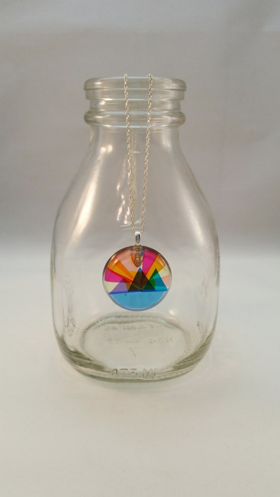 Mountain Sunset - Layered Colors Resin Pendant with Sterling Silver Chain