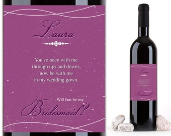 boho bridesmaid proposal wine label template a bohemian. Black Bedroom Furniture Sets. Home Design Ideas