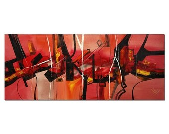 """Abstract Oil-painting, Original Art by BO The Artmakers : """"RED HYPNOSIS"""", Gallery of modern & contemporary  Art"""