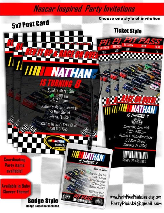 Nascar Birthday Invitations 5X7 Card or Ticket Style or – Nascar Birthday Cards