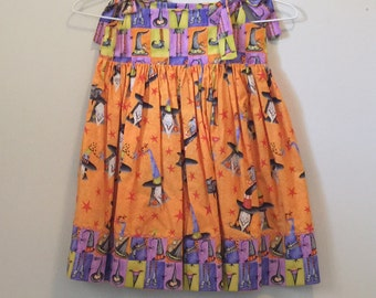 Size 6 Halloween Dresses | ready to ship | handmade clothes | cotton clothes | dress with witches | girl's clothes