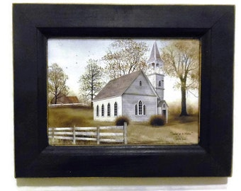 Sunday go to Meeting, Church Picture, Billy Jacobs, Art Print, Primitive, Wall Hanging, Handmade, 9x7, Custom Wood Frame, Made in the USA