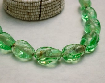 "10 Clear, Pale Mint- Green, ""Swirled "" Oval Shape, Pressed Glass Beads- 14 mm x 11 mm"