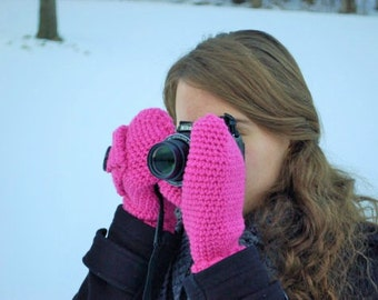 MADE TO ORDER, Photographer's Mittens, women's accessories, No freeze, photo prop, Photographer's prop, Teens photo gloves, lens cap pocket