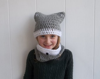 MADE TO ORDER Crochet Wolf Set for Child , Child Hat and Scarf Set , Child Hat and Cowl Set , Child Wolf Hat , Child Animal Hat