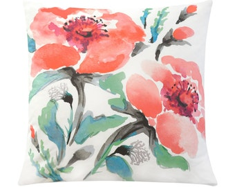 Coral Floral Pillow Cover, Red Pillow Cover, Watercolor Pillow Cover, Floral Throw Pillow Cover, Designer Pillow Cover, Handmade Pillow Case