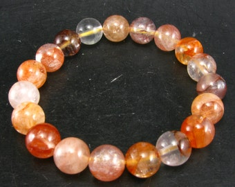 Pink Fire Azeztulite Agnitite Bracelet from Africa  - 7""