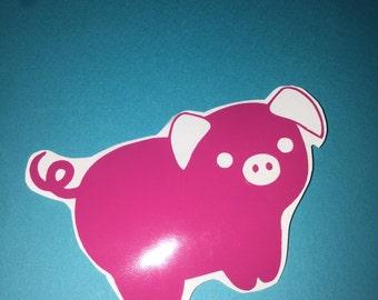 Pink pig vinyl decal