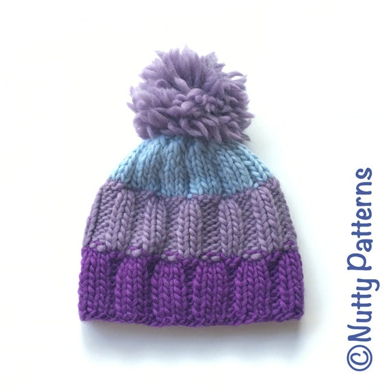 Beanie Knitting Pattern Straight Needles : Knitting Pattern Ray Hat Beanie Straight needle